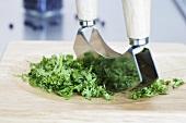 Chopped parsley with mezzaluna