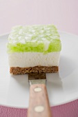Piece of apple yoghurt cheesecake on cake knife