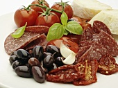 Italian antipasti (salami, olives, tomatoes)