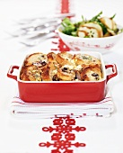 Savoury bread & butter pudding with mushrooms & blue cheese
