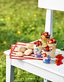 Cookies & strawberry desserts on wooden bench out of doors