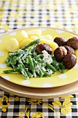 Swedish meatballs with green beans and new potatoes