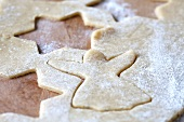 Spekulatius pastry with shapes cut out (German Christmas shortcrust biscuits)