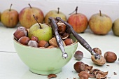 Apples, almonds and hazlenuts with a nutcracker