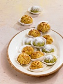 Panellets (almond sweets) and pistachio balls