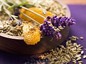Spices for fish dishes (fennel seeds and lavender flowers)