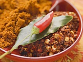 Spices for meat dishes (chilli and bay leaf)