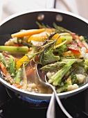 Pan-cooked mixed vegetables with rosemary