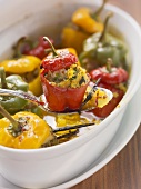 Peppers stuffed with lamb in saffron sauce