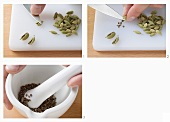Taking cardamom seeds out of the pods and grinding in a mortar