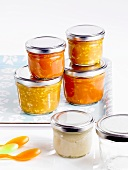 Some jars of homemade baby food