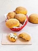 Potato rolls in a bread basket