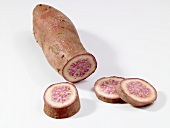 Purple sweet potato, sliced