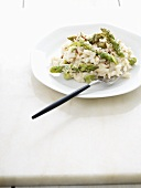 Risotto with green asparagus and hazelnuts