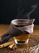 Hot tea with cinnamon and star anise