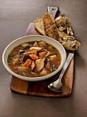 Root vegetable soup with toasted garlic bread