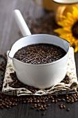 Barley coffee (malt coffee) in a pot