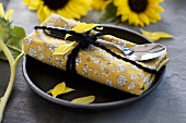 Place setting with sunflowers