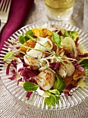 Scallop salad with chanterelle mushrooms