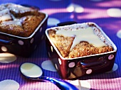 Baked dessert with white chocolate