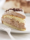 Layered sponge cake with chocolate cream