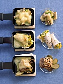 Three different raclette dishes