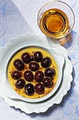 Creme brulee with cherries and vin santo