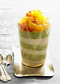 Almond and pistachio cream with citrus fruits