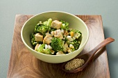 Oriental broccoli salad with tofu