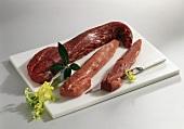 Beef fillet, veal fillet and pork fillet