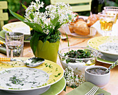 Ramsons (wild garlic) dishes: soup, quark and dip