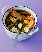 Bowl of Bouillabaisse with Ingredients