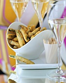Courgette fritters and champagne