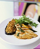 Chicken breast with sage and aubergine with Parmesan crust