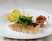 Steamed salmon with baked potatoes