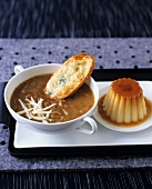 French onion soup with cheese on toast and crème caramel