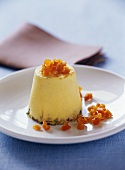Apricot and passion fruit bavarois with pistachios