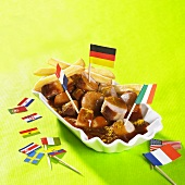 Currywurst sausage with flags