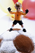 Football cake with goalkeeper