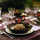 Place setting with granary roll