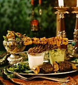 Middle Eastern kebabs (chicken, lamb, beef) with dips