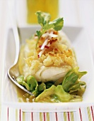 Fried cod with croûton crust and pointed cabbage