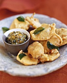 Potato bhajias with chutney, India