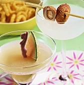 White rum drinks: Melon Daiquiri & Lychee Nut Daiquiri