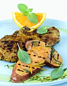 Pork chop with orange marinade and sweet potatoes