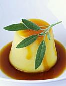 Orange crème caramel with sage
