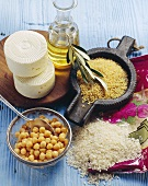 Ingredients for Turkish cuisine (rice, chick-peas, bulgur)
