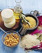 Zutaten für die türkische Küche (Reis, Kichererbse, Bulgur)