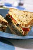 Wholemeal toast triangles with tomato and egg