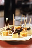 Cheese on cocktail sticks